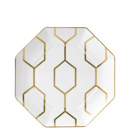 Arris Bone China White / Gold Octagonal Plate - 23 cm